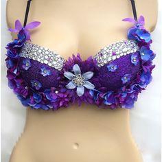 Purple Flower Rave Bra ($55) ❤ liked on Polyvore