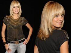 Supermodel Heidi Klum is right up with the Spring to Summer 2008 fashion trends. Spotted backstage at Project Runway, Klum wore one of the major hair trend Bob Hairstyles With Bangs, Thin Hair Haircuts, Fringe Hairstyles, Cool Hairstyles, Updo Hairstyle, Hairstyle Ideas, Bangs With Medium Hair, Medium Long Hair, Medium Hair Styles