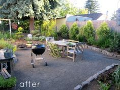 Gravel patio & green & wood chairs!