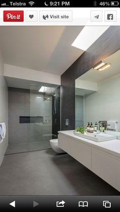 Badezimmer Hawthorn East bathroom renovation contrast wall, better version of Stanley Dark… Parents, Tiny House Bathroom, Bathroom Renos, Grey Bathrooms, Bathroom Layout, Ensuite Bathrooms, Beautiful Bathrooms, Bathroom Renovations, Bathroom Interior, Master Bathroom