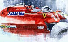 Watercolor Painting - Ferrari 126c Silverstone 1981 British Gp Gilles Villeneuve by Yuriy Shevchuk