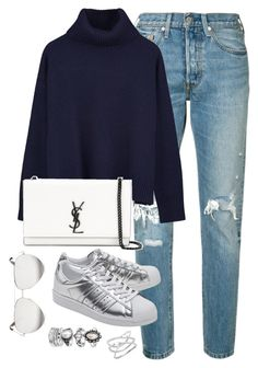 """""""Untitled #3534"""" by theaverageauburn on Polyvore featuring Levi's, Ille De Cocos, Yves Saint Laurent, adidas Originals and Victoria Beckham"""