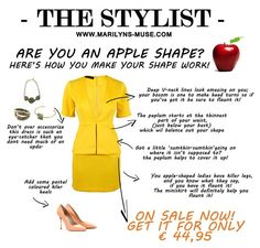 Here's how you make this bright yellow dress work for your shape! (Now, I was just reminded that not all apples HAVE a cleavage to flaunt. Big breasts are not necessarily part of being an apple. Apple Body Type, Apple Body Shapes, Dresses For Apple Shape, Dresses For Work, Dress Work, Apple Shape Fashion, Apple Dress, Power Dressing, Couture