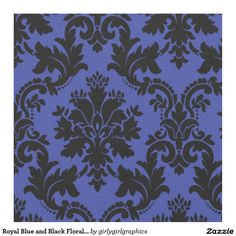 Royal Blue and Black Floral Damask Pattern Fabric