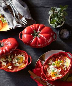 Staub Ceramic Tomato Cocotte | Celebrate the season's harvest with this cocotte for baking and serving individual portions of soups, casseroles or veggies.