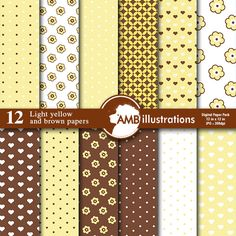 Light yellow mix and match digital papers