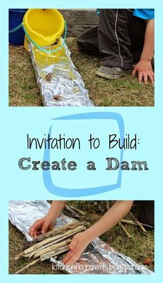 a Dam - a lot of opportunities for experimenting and exploring with nature materials with this idea!Create a Dam - a lot of opportunities for experimenting and exploring with nature materials with this idea! Forest School Activities, Nature Activities, Steam Activities, Camping Activities, Summer Activities, Learning Activities, Kid Activites, Montessori Activities, Outdoor Activities For Preschoolers
