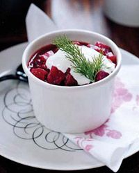 Beet and Red Cabbage Borscht - Most Colorful Dishes on Food & Wine Bread Salad, Pita Bread, Wine Recipes, Soup Recipes, Borscht, Butternut Squash Soup, Red Cabbage, Veggie Dishes, Beets