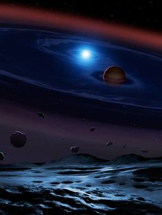 A disc of rocky debris from a disrupted planetesimal surrounds the white dwarf-brown dwarf binary system SDSS 1557. Image credit: Mark Garlick, University College London, University of Warwick and University of Sheffield.