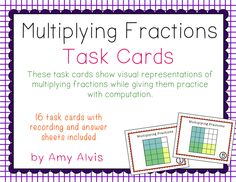 Multiplying Fractions Common Core Task Cards - CCSS 6.NS.1, $