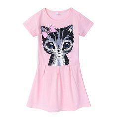 4e04c07499 Cotton Cat Pattern Short Sleeve O-neck Dress For Kids Girls On Sale -  NewChic