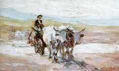 The oil painting the Ox Cart ('Carul cu Boi') by the Romanian painter Nicolae Grigorescu was sold for EUR at the auction organized by Artmark at the Bucharest Opera House. Bull Painting, Figure Painting, Painting & Drawing, Russian Painting, Impressionism Art, Art Database, Oil Painting Reproductions, High Art, Famous Artists