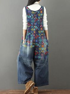 Laie Wide Leg Denim Overall Vintage Printed Flower Jumpsuits Laie Wide Leg Denim Overall Vintage Printed Flower Jumpsuits – ClassyPeek Denim Romper, Jeans Jumpsuit, Denim Overalls, Dungarees, Overalls Vintage, Wide Leg Denim, Ripped Denim, Blue Denim, Overalls Fashion