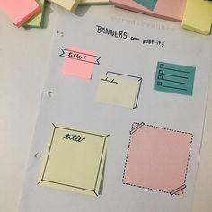 IDEIAS 💡 DE BANNERS COM POST-IT ideias para deixar seu resumo mais bonitinho 💓 espero que gostem!! . . . tag Bullet Journal Notes, Bullet Journal 2019, Cute Notes, Pretty Notes, Study Journal, Book Journal, Banners, Doodles, Notes Design