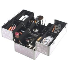 "PINK-ROSE BEAUTY Cosmetics & Makeup Train Case Professional Aluminium Large 14"""