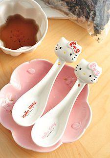Soups on! Hello Kitty Bed, Hello Kitty Kitchen, Hello Kitty Items, Baby Friends, Ceramic Spoons, Fancy Houses, Cat Treats, Sanrio, Ceramics