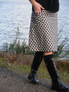 A-Line Skirt With a Pocket, Polka Dot, bLaCk aNd WhiTe stripe, PolKa DoT sTrIpE, Aline skirt, women's 2-24 on Etsy, $60.00
