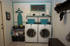 Very cool! They covered exposed pipes and duct work with a partial wall of pegboard that can be removed if needed. #organize #laundry