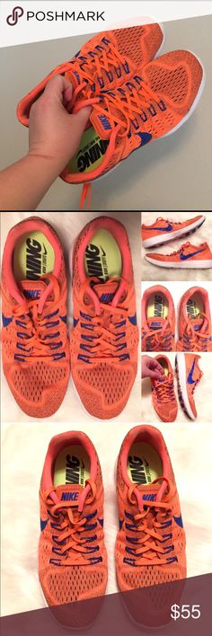 NIKE  MENS NEON ORANGE BLUE RUNNING TRAINERS, 12 Some scuff marks.  Overall super sweet shoes!  Bright neon orange!  Blue is darker than photos show.  Men's size 12!  NIKE LUNAR TRAINERS!  (Neutral ride/soft, LUNARLON Sneakers, Kicks, Athletic Shoes).  You may also like Adidas, Reebok, Puma, Brooks, Crossfit, Marathons, etc.) Nike Shoes Athletic Shoes