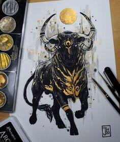 Animal Paintings, Animal Drawings, Art Drawings, Taurus Bull Tattoos, Arte Viking, Taurus Art, Arte Obscura, Ink Art, Art Sketches