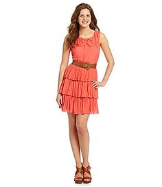 *Swapped* Teeze Me Bow-Neck Tiered Dress Coral Size 11