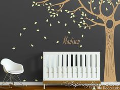 Acorn oak floor to ceiling tree wall decal with leaves by DecalLab, $129.00