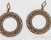Dangle Woman Bronze Earrings Round Circles, Vintage Lace Style, Openwork