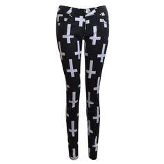 Kathryn Black Cross Print Skinny Jeans ($27) ❤ liked on Polyvore