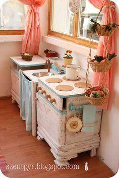 play kitchen from an old dresser.....sooooo cute!