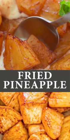Try this simple, yet scrumptious, Cinnamon Fried Pineapple. It requires just a few common ingredients and only 10 minutes of Fruit Recipes, Cooking Recipes, Healthy Recipes, Fruit Snacks, Healthy Fruits, Pineapple Recipes Vegetarian, Greek Dessert Recipes, Alkaline Fruits, Necterine Recipes