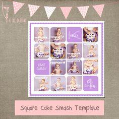 Cake Smash purple template Cake Smash by kmpdigitaldesigns on Etsy