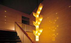 Hotel Okura. 別館地下1階から本館へ向かう階段上にある照明。彫刻家・橋本正司氏がデザインした