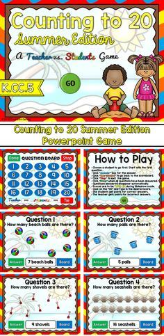 Engage students with this fun, interactive counting game. Students are playing against the teachers as they count the number of beach toys. Some toys are scattered about and others grouped together in arrays. There are 20 questions and you just click on each question to go to it. The question disappears after you've clicked on it so you know you've answered it. There are 2 scoreboards: a touch scoreboard and type in scoreboard.