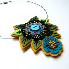 Felt pendant 'STATEMENT' necklace with freeform embroidery on co-ordinating wire necklace.