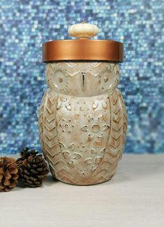Grey Copper Distressed Owl Jar with Knob, Handmade Candy Jar, Cookie Jar, Desk Decor, Utensil Holder, Coffee Tea Jar, Owl Jar, Kitchen Decor by ShabbyChicRetreat on Etsy