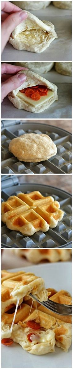 Pizza Waffles How-To.would make a good camping recipe ~ Pillsbury® Grand® Flaky Layers Biscuits are transformed into pizza waffles! Mini golden waffles stuffed with melty cheese and pepperoni. These will be a hit with everyone! Only 4 ingredients! I Love Food, Good Food, Yummy Food, Tasty, Waffle Iron Recipes, Great Recipes, Favorite Recipes, Recipe Ideas, Easy Recipes