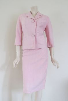 Cute 60's Pink and White Striped Rayon Suit / Bombshell / Medium / Secretary