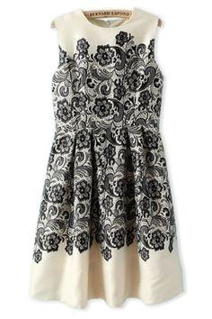 Paisley Sleeveless A-line Dress - OASAP.com