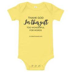 Thank God Infant Onesie Heather White, The Nines, Columbia Blue, Thank God, Onesies, Infant, Banana, One Piece, Yellow