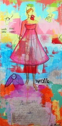 """""""Walk this Road"""" 24 x 48, oil on canvas Fashion illustrations have """"idealized"""" elongated body types that are no where near what a woman's anatomy is. This painting is about the """"Walk"""" of a real girl on her journey to find her way in the world. She seeks and finds what she is looking for. She looks to grow in truth. She is surrounded by beauty and creates beauty around herself. #fashion #art #painting #dress #suzeford #contemporary"""