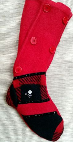 Xmas Time Wool Felted Stocking by NancysAccessories on Etsy