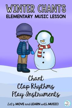 Clap the rhythms! Winter Music Class will come alive with these original Chants and Songs with interactive learning strategies to help students practice Rhythms, play instruments, move to body percussion and experience pre-note reading activities while singing, moving and playing. Perfect for K-3 and Station Activities.  #elementarymusic#generalmusicactivities#musicclassactivities#wintermusicactivities Kindergarten Music Lessons, Elementary Music Lessons, School Lessons, Fun Classroom Activities, Reading Activities, Music Class, Music Education, Interactive Learning, Percussion