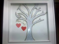 The lyrics to our wedding song are on the tree.  It sells on Etsy for $ 80, but could also be a great DIY project (paint chips for the hearts, back of an old legal pad for the tree).