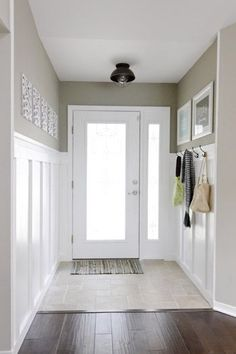 Board and Batten Entryway, neutral and classic   100+ Beautiful Mudrooms and Entryways at Remodelaholic.com