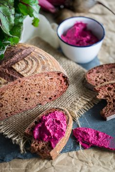 Sourdough Beet Bread with Roasted Beet Hummus — Even beet haters will love this bread