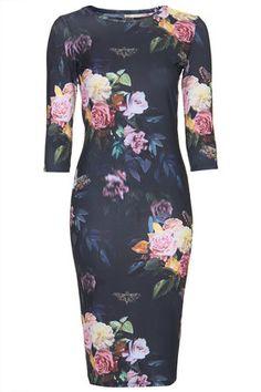 Blur rose print midi bodycon dress in floral print