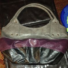 Large Purple, Black And Gray Hobo Style Bag