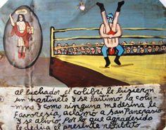 Против борца Колибри применили прием отбойного молотка и повредили ему позвоночник. Он никак не мог поправиться, и тогда он взмолился Святому Панкратию. Борец выздоровел и в благодарность посвящает это ретабло.