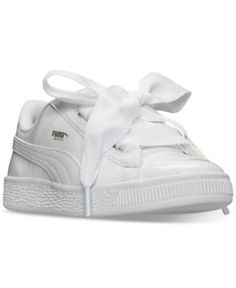 Puma Little Girls' Basket Heart Patent Casual Sneakers from Finish Line - White 2