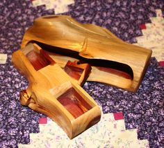 Cedar Log Jewelry Box with Hidden Drawer